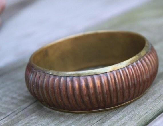 SALE Vintage copper and brass bangle bracelet great patina