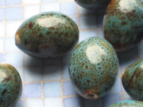 Robin's Egg blue ceramic beads 4 pieces