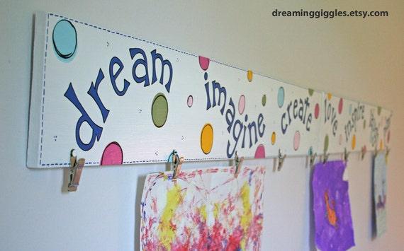 AVAILABLE for you to order ONE Custom Artwork Hanger Dream Imagine Create  Kids Art Hanger