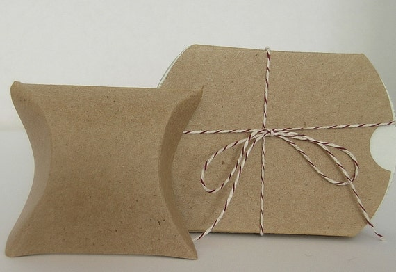 Natural Kraft Pillow Boxes - One Dozen