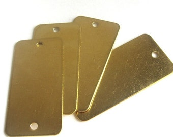 """8 thick brass stamping blank dog tags 1"""" x 2"""" rectangle"""