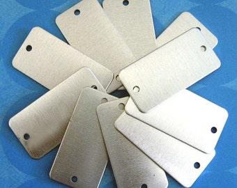 """10 aluminum rectangle stamping blank dog tags double hole 1"""" x 2"""""""