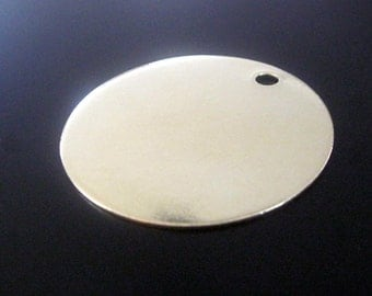 "2"" Inch extra LARGE Round Brass Blank Tags 2 inch  - 18 gauge  QTY 1"