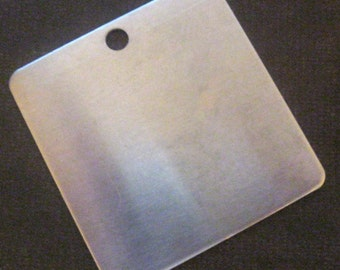 5 EXTRA LARGE Square Aluminum Blank Tags 2 inch - 18 gauge
