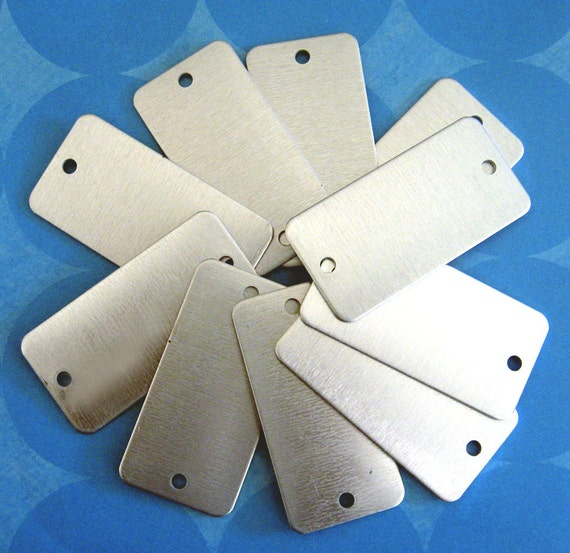 "10 aluminum rectangle stamping blank dog tags double hole 1"" x 2"""