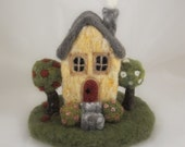 Custom Needle Felted Wool 360 Degree Miniature House Sculpture with Wool Base - Pre Order