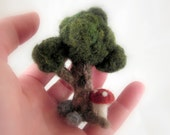Miniature Needle Felted Wool Tree with Red Mushroom Scene Sculpture - Pre Order