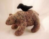 Custom Needle Felted Wool Brown Bear With Crow Sculpture - Pre Order