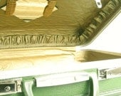 Little Green Suitcase ...... Quilted Gold Interior with Mirror