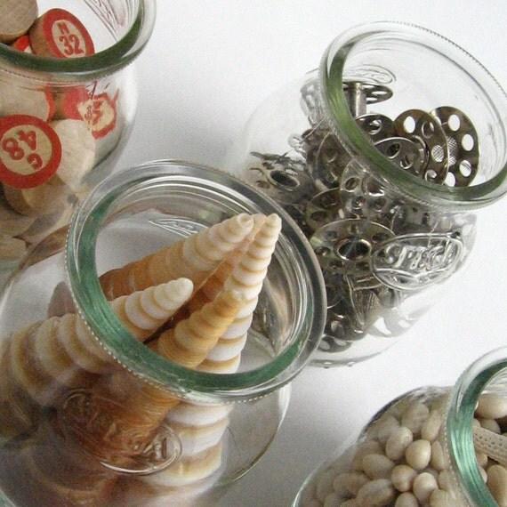 6 SPEGA JARS............. Recycled Glass Italian Yogurt Containers
