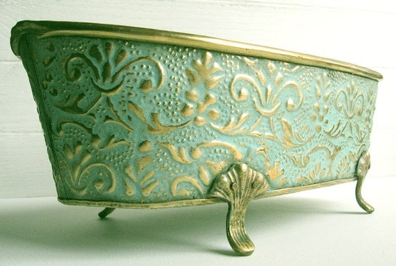 Aqua Brass Planter ..... Painted Embossed Footed Cachepot