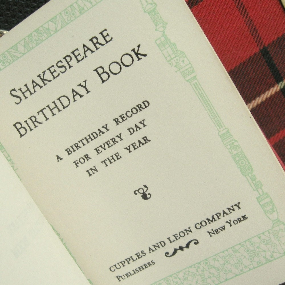 SHAKESPEARE Birthday Book CUPPLES And LEON Company Early 1900s