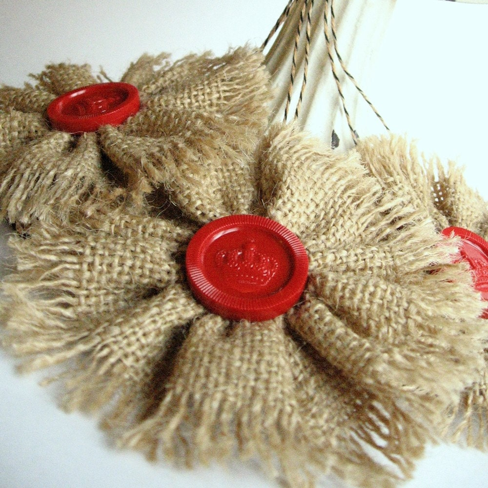 Burlap Tree Ornaments: 3 Rustic Burlap Ornaments With Vintage Red Checkers