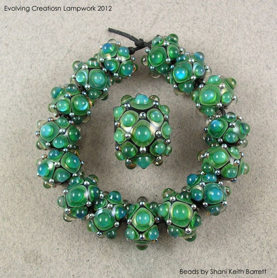 Evolving Gaia Aurora (16) - Lampwork Glass Beads by Shani Barrett SRA
