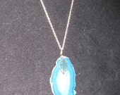 Turquoise Agate Slice Pendant Necklace
