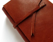 Brown Leather Pocket Notebook with Mixed Vintage Papers