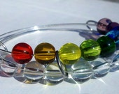 Rainbow abacus bracelet - crystal and rainbow glass