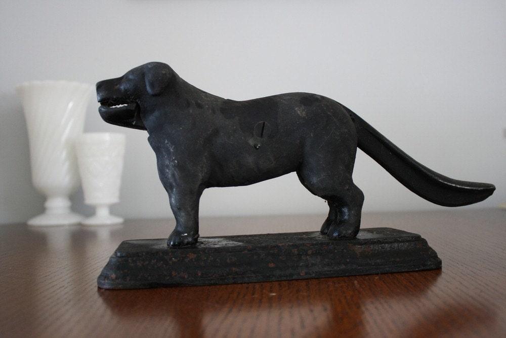 Antique Black Cast Iron St Bernard Dog Nutcracker