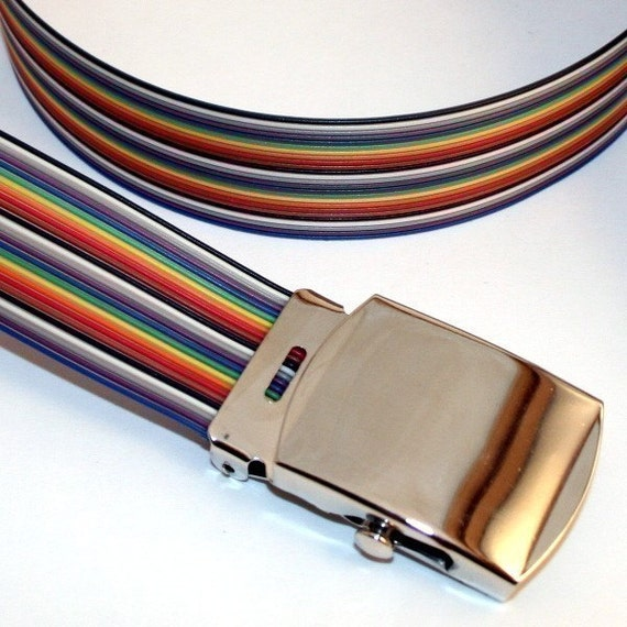 Computer Ribbon Cable : Rainbow ribbon cable belt