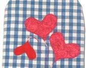 Cafetiere - Blue White Check  Hearts Applique Cotton Handmade