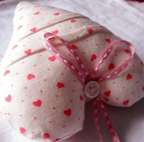 Decorative Pincushion Heart Pink White Cotton Handmade