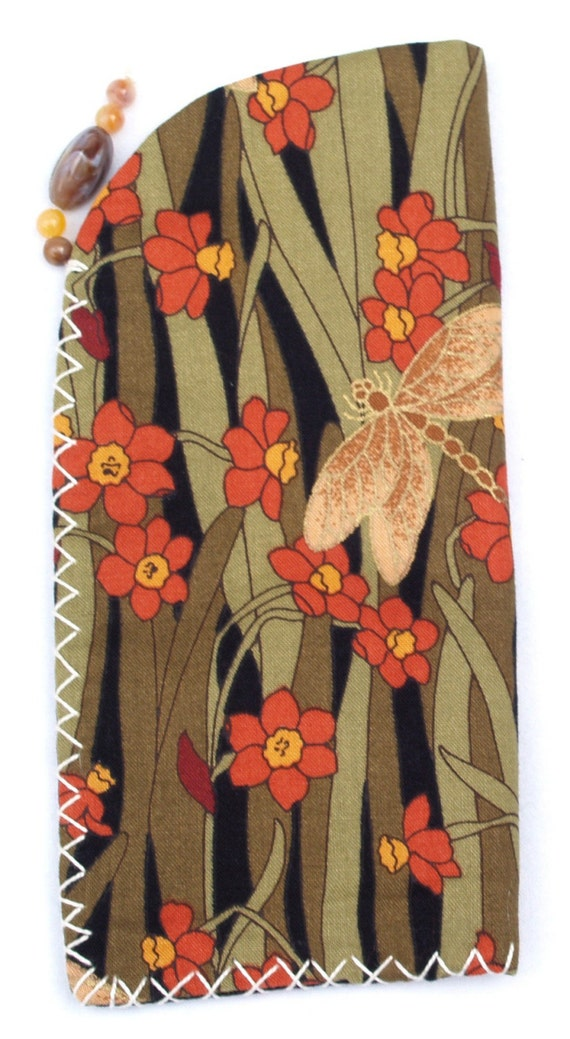 Spectacle case - Dragonfly Green Cotton Handmade