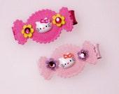 Set of 2 Blingin' Hello Kitty Hair Candy No Slip Clippies