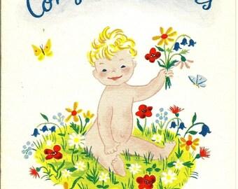Unused Vintage Congratulation New Baby Card
