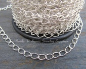 SPOOL Bright Silver Plated Brass 4.2mm Curb Link Chain