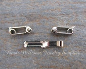 BULK LOT 50 CLASP - Nickel Plated Fold Over Clasp 3x13mm