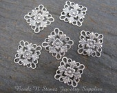 Antique Silver Brass 16mm Fancy Square Filigree Charm - 6 PCS