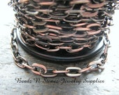 5 Feet Quality Antique Copper  4.8mm x 8.5mm Flat Drawn Cable Chain