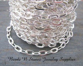 5 Feet Quality Bright Silver Plate 4.8mm x 8.5mm Flat Drawn Cable Chain