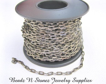 5 Feet Quality Antique Brass 2.1mm x 4.2mm Drawn Flattened Cable Chain