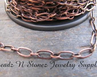 5 Feet Antique Copper 3.3mm x 6mm Long And Short Bulk Chain