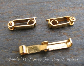 Gold Plated Fold Over Clasp 3x13mm  - 4 Clasp