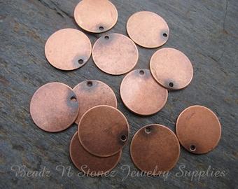 Antique Copper Brass 12mm Coin Charm Drop - 12 PCS