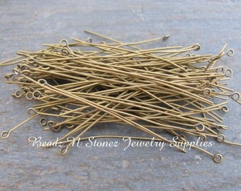 Antique Gold Brass 2.5 Inch Eyepins, 22 Gauge - 100 PCS