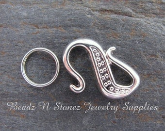 Bali Style S Hook Clasp, 12x17mm Silver Plate - 4 Clasp Sets