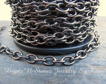 CLEARANCE - SPOOL - Gunmetal Brass 4.6mm x 6.3mm Drawn Cable Chain