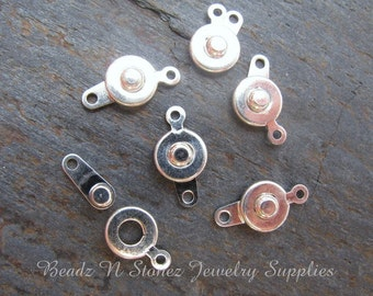 Silver Snap Clasp 7mm -  6 Sets