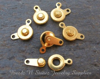 Gold Plated Snap Clasp 7mm - 6 Clasp