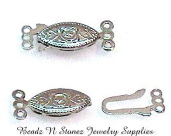 Silver Plated 3 Strand Pearl Safety Clasp 20x8mm - 6 Sets