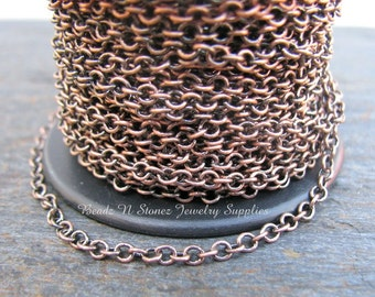 5 Feet Quality Antique Copper Plated Brass 2.1 x 2.7mm Fine Cable Link Chain