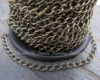 SPOOL - Antique Brass 2.8mm x 4mm Curb Link Chain
