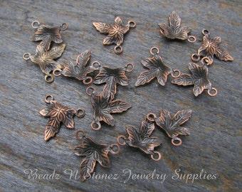 Brass Leaf Charm Drops, Antique Copper 10x10mm - 24 PCS
