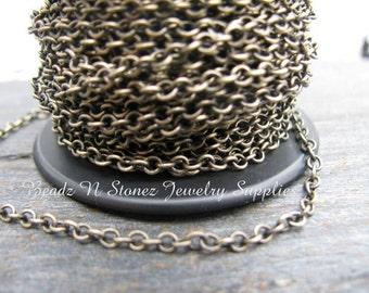 SPOOL Antique Brass 2.1 x 2.7mm Fine Cable Link Chain