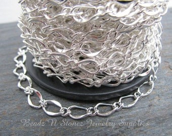 SPOOL Silver Plated  5x8mm Hammered Long Short Chain