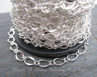 5 Feet Quality Silver Plated 5x8mm Hammered Long Short Chain
