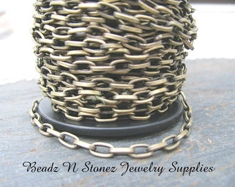 SPOOL - Antique Brass 3.7mm x 7.2mm Flat Drawn Cable Chain
